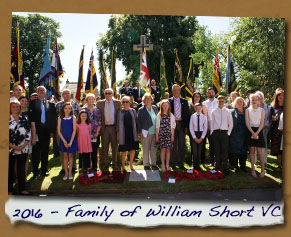 2016 Commemorative Ceremony - Family of William Short VC
